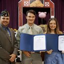 James Wheeler of the American Legion Post 45, presented the prestigious American Legion awards to Sam Pitre and Marsha Savage.